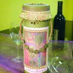 Pink wine caddy with bottle 2 front small