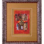 red vertical 2 patches w mask framed